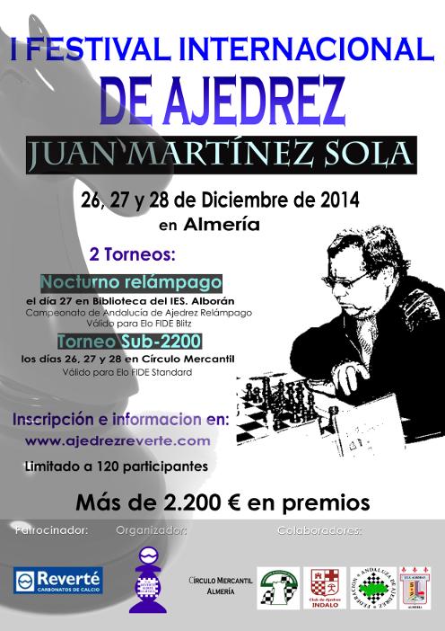 Cartel I Festival Internacional de Ajedrez Juan Martínez Sola 2014